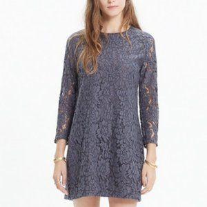 Madewell Grey Lace Long Sleeve Shift Dress